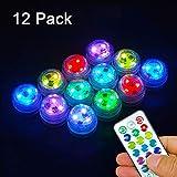 SUNSHIN Paquete de 12 Luces Que cambian de Color Mini Luces LED subacuáticas RGB Mood Lights, con 1 Control Remoto para Estanque, Fiesta, bañera, decoración
