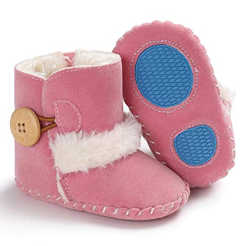 Dejian Newborn Baby Boys Girls Fleece Fur Knit Winter Warm Snow Boots Soft Sole Prewalker Non-Skid Boots for Infant Toddler(0-6 Months,Pink)