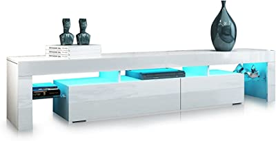 TV Unit Cabinet Storage Wood High Gloss Finish 2 Drawers with RGB Led Light 189cm Length White