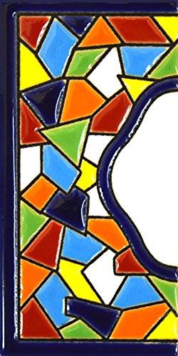 Letreros con numeros y letras en azulejo de ceramica policromada, pint