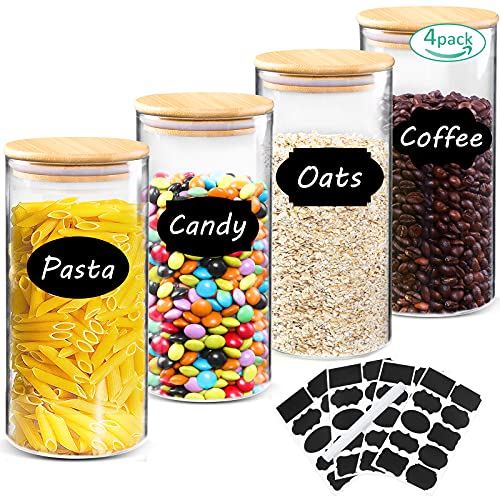 Tarro de Vidrio de Almacenamiento 4Pcs, EWEIMA 1000ml Tarros de Cristal para Conservas Envases Cristal Alimentos, Botes de Cristal con Tapa de Bambú&Anillo de Silicona Para Servir Café, Té y Más