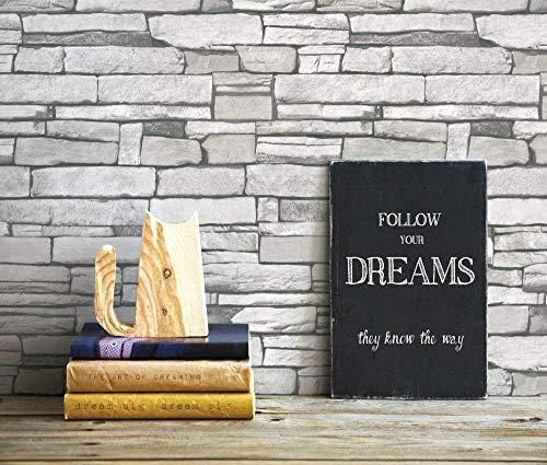 """(Ladrillo blanco inexacto apilada, Paquete de 2) Papel tapiz de mural autoadhesivo clásico con patrón de ladrillo 50cm X 3M (19,6"""" X 118""""), 0,15mm para sala de estar, habitación, fregadero"""