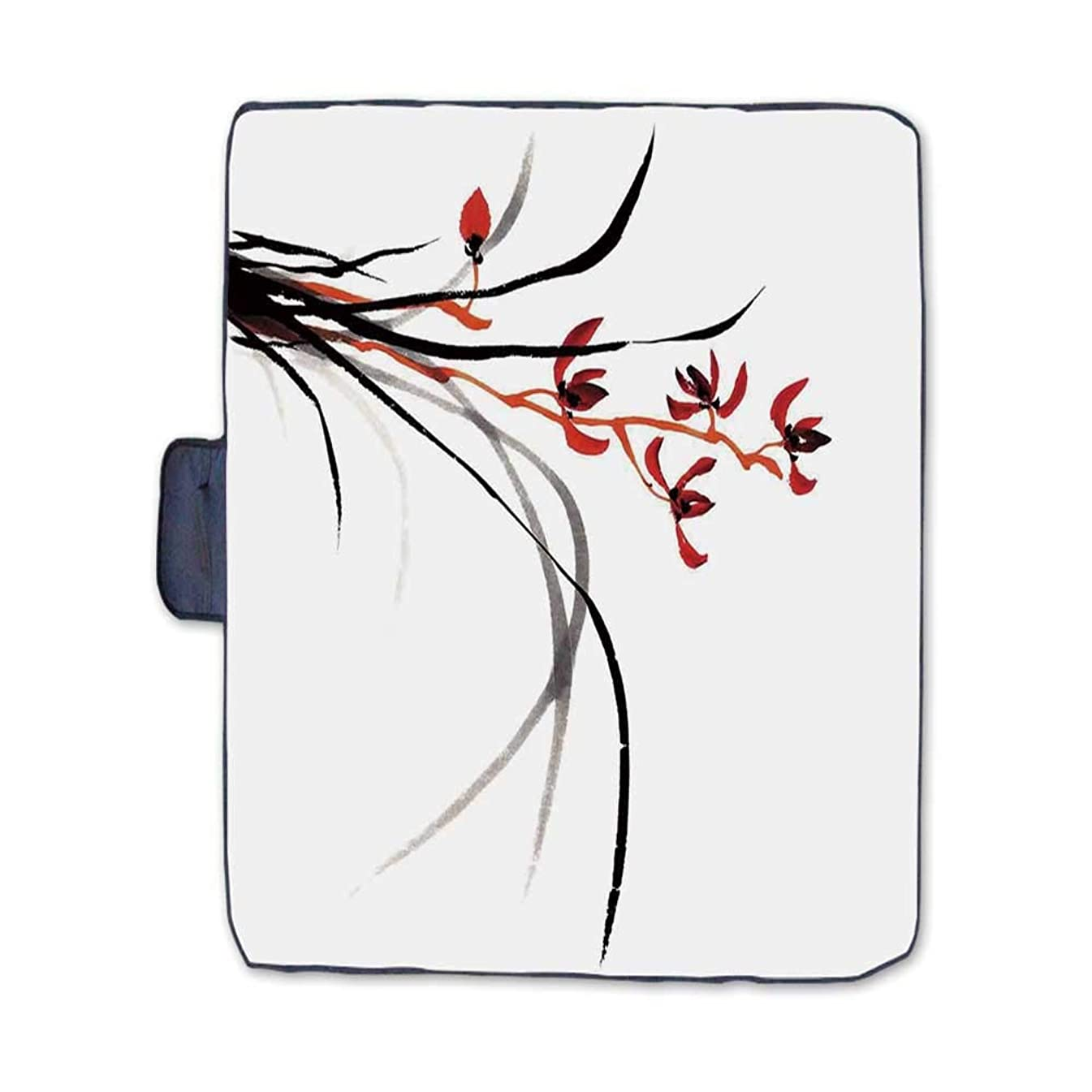 TecBillion Japanese Stylish Picnic Blanket,Classic Cultural Chinese Ink Paint Print of Native Wild Orchids Reflexive Birches Mat for Picnics Beaches Camping,58