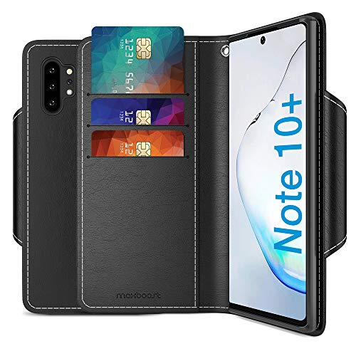 Maxboost mWallet Designed for Galaxy Note 10 Plus/Note 10 Plus 5G Case - Premium Note10+ / Note10+ 5G Wallet Case Credit Card Holder [Black] PU Leather Wallet + Side Pocket Magnetic Closure