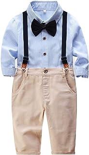 Xifamniy Newborn Boys 2pcs Gentlemen Sets Long Sleeve Stripe Bow Shirt Matching Overalls