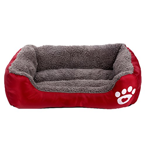 LvRao Haustierbett Weiches Hundekissen Warm Flauschig Plüsch Hundebetten Hundekissen Hundedecke Welpe Katze Tierbett (Wein Rot, S: 45 * 40 * 12CM)