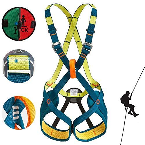 CHXIAN Kinder Klettergurt, Vollkörper Klettergurt Geeignet für 4-9 Jahre, Komfortabel Einstellbar Geeignet zum Klettern an der Wand Seilrutsche Erweitertes Training