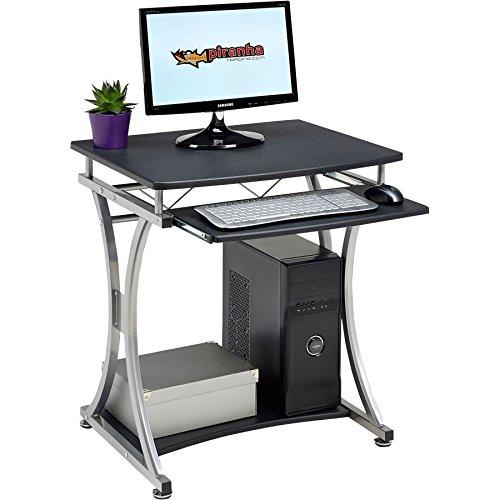 Piranha Trading Escritorio Mesa de Ordenador Compacto para la Oficina y Despacho en Casa con Bandeja de Teclado de Melamina Efecto Negro Grafito Oscar PC11