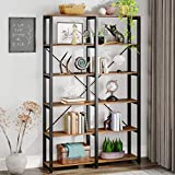 Tribesigns Rustic Industrial Bookshelf, Double Wide Open Bookcase, 6-Tier Etagere Book Shelves, Tall Storage Display Shelves with Black Metal Frame for Home Office Decor Display, Brown