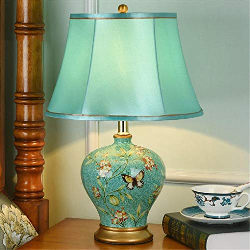 Oriental Ceramic Table Lamp Cloth Lampshade E27 Button Switch Living Room Bedroom Bedside Decorated Desk Lamp