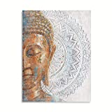 Gold Buddha Canvas Wall Art: 3D Mandala Flower Blossom Buddha Painting with Gold Foil Reproduction Print on Blue Canvas Wrapped and Ready for Hang 24'x32'
