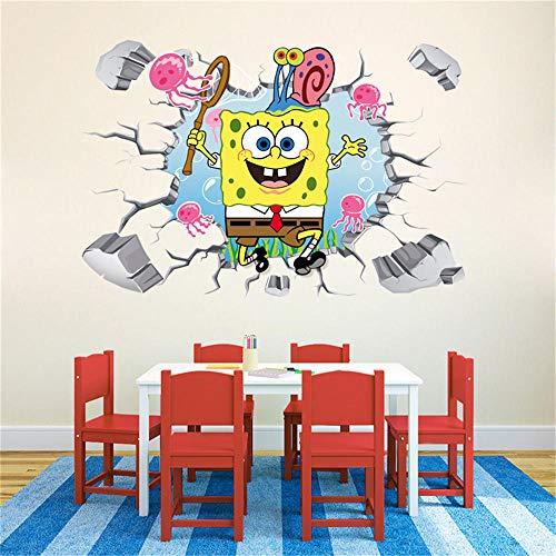 Papel pintado de Bob Esponja extragrande pegatina de pared tridimensional de los fondos marinos de dibujos animados para habitación de los niños maleta de vidrio papel autoadhesivo-60 * 90 CM-C