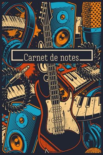 Carnet de notes: Cahier de notes Ligné - Studio d'Enregistrement - Guitare - Micro - Casque - Piano - 120 pages - 15,24 x 22,86 cm - 6x 9 pouces