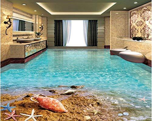 Yirenfeng Strand Seestern Shell Strand Ozean Wohnzimmer Schlafzimmer Badezimmer Selbstklebende Wasserdicht 3D-Bodenbelag 3D Wallpaper Wandbild250X160CM