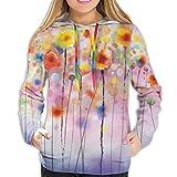 Cainy Abstrakte Blumenaquarell Gemälde Unisex Mode gedruckt Pullover Hoodies Kapuzenpullis für Sport und Party L