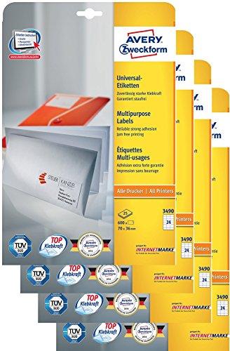 Avery Zweckform 3490 Adressetiketten (A4, Papier matt, 2.400 Etiketten universal, 70 x 36 mm) 100 Blatt weiß