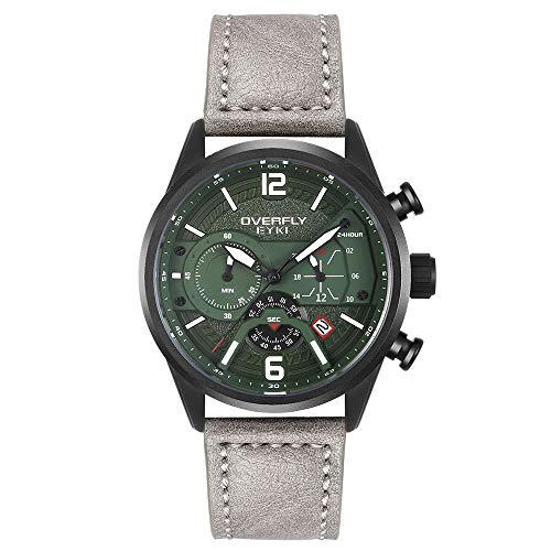 EYKI Uhren Herren Chronograph Analogue Quartz Armbanduhr für männer Lederband Fashion Business Sport Design 30M wasserdicht Elegant Männer Geschenk (Grau)
