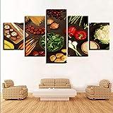 QZGRQ Decoración de Cocina, Arte de Pared, 5 Piezas, Setas Vegetales, Chile, Patata, Zanahoria, Pint...