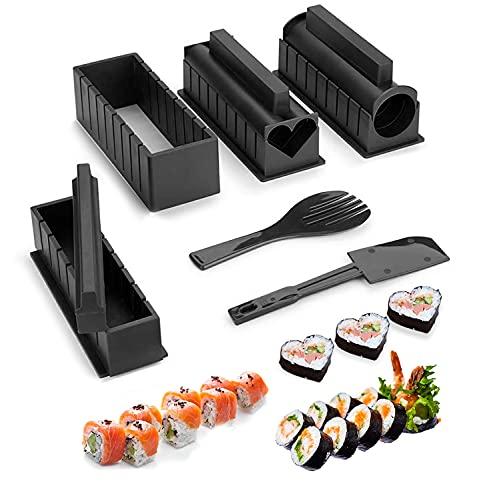 Kit para Hacer Sushi, 10Pcs Kit de preparación de sushi, Sushi Maker Kit, Kit de Fabricación de Sushi, juego de sushi adecuado para amantes del sushi, principiantes, niños, fiesta