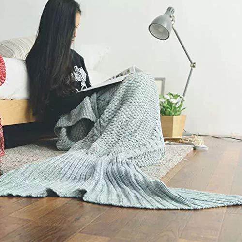 Couverture de queue de sirène adulte au crochet, couvertures de sirène douces et confortables en tricot pour femmes, adolescents et filles, sac de couchage Seatail pour enfants