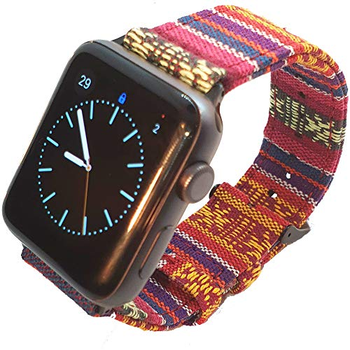 Max Tribal Stof Compatibel met Apple Horlogeband 38mm 42mm 40mm 44mm voor iWatch Series 4 3 2 1 Nylon Band RVS Gesp en Lugs, 42mm/44mm-M/L, Meerkleurig