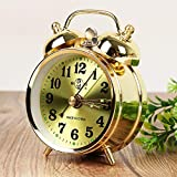 LOOPIG Alarm Clock Retro Gold Mechanical Manual Wind Up Clock Snooze Table Clock Home Decoration