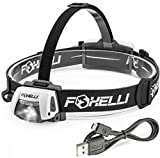 Foxelli USB Rechargeable Headlamp Flashlight – 280 Lumen,...