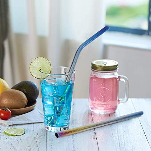 チタン金属ストロー(チタン製ストラー)マイストロー カラフル おしゃれ 洗浄用ブラシ付 収納袋付 防錆 攪拌棒 -21.5cm×6mm 健康的な再利用可能な、環境に配慮し、BPAの自由 (直-カラフル 1本)