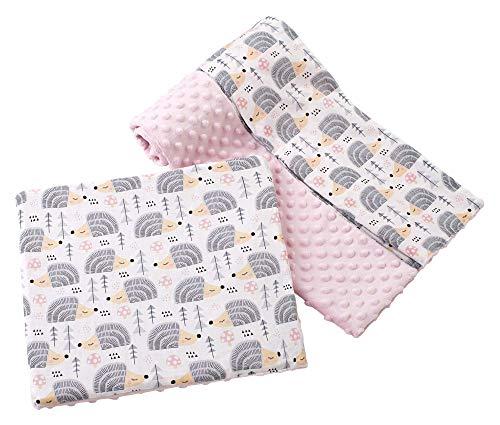 Babydecke Krabbeldecke mit Kissen 100% Baumwolle MINKY Kinderdecke groß zweiseitig 75x100 + 35x30cm multifunktional für Bett Kinderwagen Medi Partners (graue Igel mit hellrosa Minky)