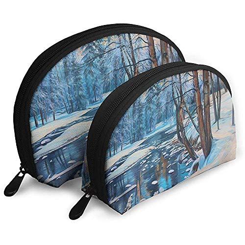 Alaska Spruce Snow Scene Painting Style Bolsas portátiles Bolsa de Maquillaje Bolsa de Aseo Bolsas de Viaje portátiles multifunción Pequeña Bolsa de Embrague de Maquillaje
