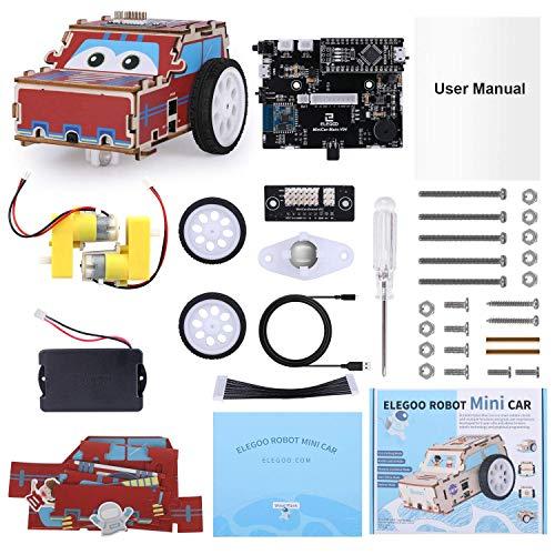ELEGOO Mini Kit de Coche Robótico, Robótico Stem Kit Juguete Educativo Compatible con Arduino IDE para Niños y Adultos