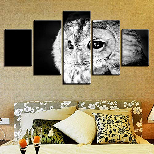 N / A AQSSJJ 5 pintura decorativa arte de pared impresión decoración hogar sala 5 piezas gris búho paisaje pintura modular lienzo