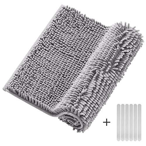 Tocode Bath Mats No Slip Bathroom Rugs Shag Absorbent Shower Mats Set Soft Microfiber Carpet with 6 PCS Free Anti-Slip Bathtub Stickers, Grey(50X80cm)
