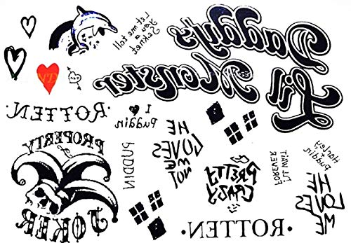 Tatuaggi temporaneo adulti - ragazza - tattoo adesivi ad acqua - cosplay - tatoo removibili - stickers corpo finti - donna carnevale - idea regalo originale - halloween - fake tattoo - film