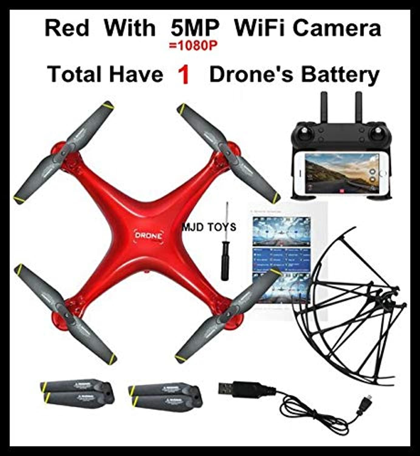 Generic MJD K106 Newest RC Camera Drone Helicopter Quadcopter with HD WiFi FPV Camera Auto Return Altitude Hold VS sg600 xs809sw ky601s Red MJD K106 5MP 1b