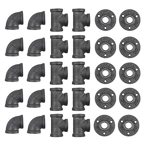 GOOVI 1/2 Inch Cast Iron Pipe Fittings (10 Elbows, 10 Tees, 10 Flange ), 1/2 Inch Black Pipe Fittings, for Steampunk Pipe Shelf and DIY Furniture, 30 Pack.