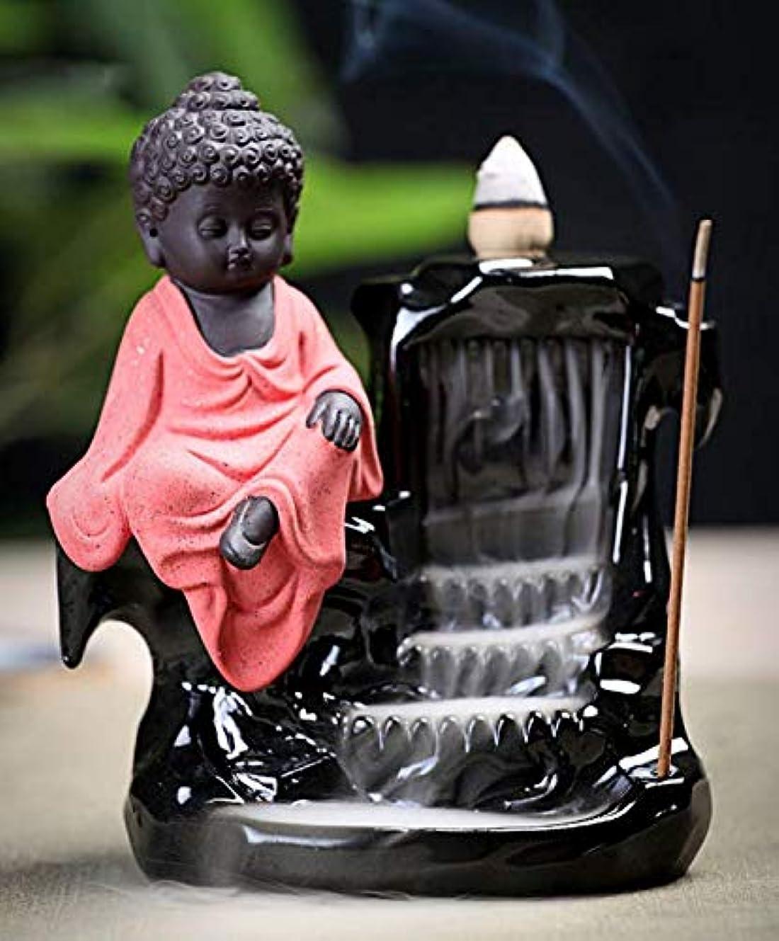 ピアノバイアス混乱したLightingsky 逆流お香ホルダー お香タワーバーナー セラミック磁器仏陀モンクタワーコーンスティックホルダー ピンク