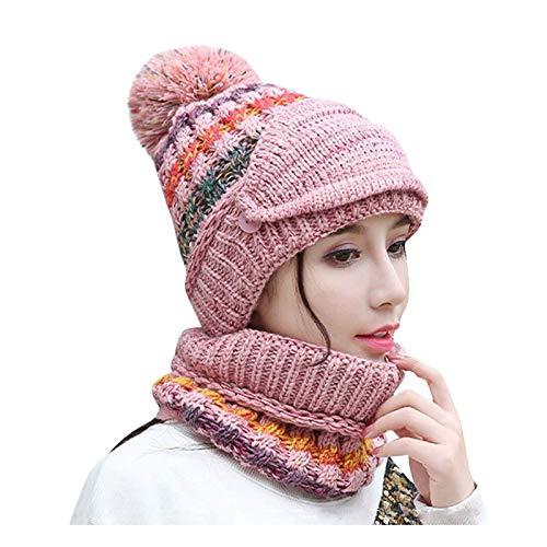 hat Sombrero de Invierno para Mujer más Terciopelo Ciclismo a Prueba de Viento Sombrero de otoño e Invierno Sombrero de Lana cálido Rosa Sombrero de Punto Salvaje (Color : Pink)