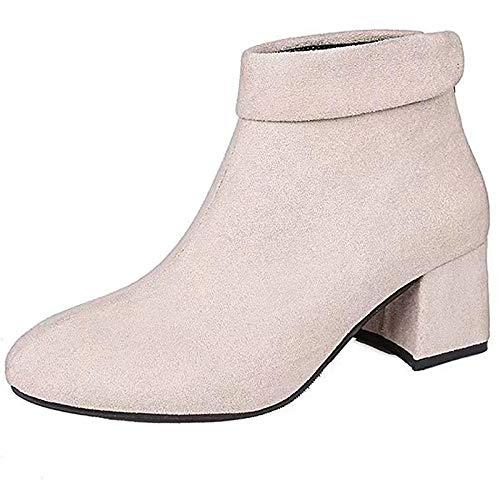 Dames laarzen Chunky Heel Vierkante teen Rubber/Faux lederen laarzen/Enkellaarzen Sweet/Preppy Lente Herfst Beige