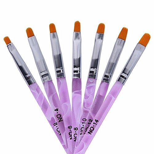 TRIXES 7-teiliges Nagelpinsel Set für UV Gel Acryl Nägel uvm - ideal für Nagelkünstler Nail Artists Profis im Nagelstudio und für den Heimbedarf - Abgerundete Kanten - Präzises professionelles Salonwerkzeug - Marmoriertes Lila Rosa Pink
