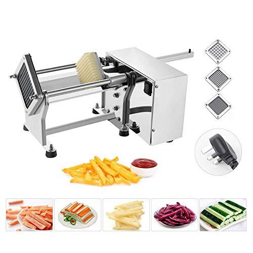 TRUSTME Trutme - Máquina de Cortar Patatas Fritas de Acero Inoxidable, cortadora de Patata, Cocina Profesional eléctrica con 3 Cuchillas de 6 mm/9 mm/13 mm