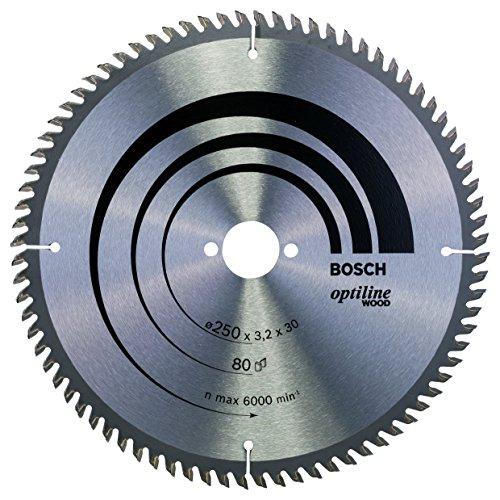 Preisvergleich Produktbild Bosch Professional Zubehör 2608640660 Kreissägeblatt Optiline Wood 250 x 30 x 3, 2 mm,  80