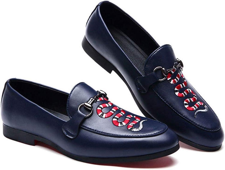 Huaian haoyushangmaoyouxian Mens Loafers Fashion Slip-on Comfortable Black bluee Party Oxfords