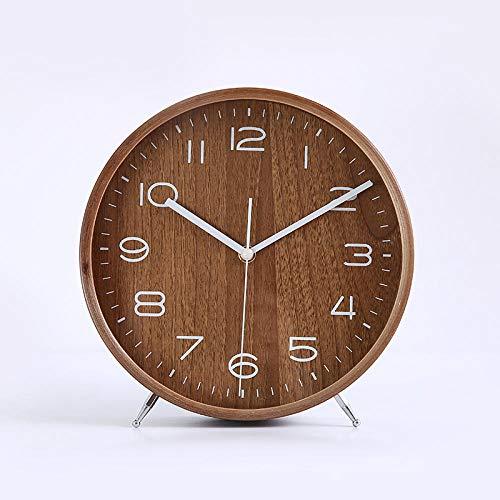 Despertador Despertar relojes despertador para niños decoración de escritorio mute mesa top reloj salón decoración creativo 25 cm color nogal