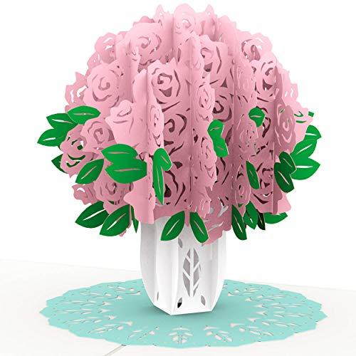 PaperCrush® Pop-Up Karte Rosa Rosen - 3D Geburtstagskarte für Sie, Blumen Glückwunschkarte mit Rosenstrauß, Romantische Liebeskarte für Frauen oder Freundin (Geburtstag, Hochzeitstag, Ich Liebe Dich)