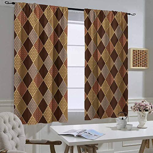 Earth Tones Best Home Fashion Thermal Insulated Blackout Curtains Lozenge Pattern in Patchwork Style Striped and Floral Rhombus Brown Shades Curtain Door Panel 55x45 Inch Brown Yellow
