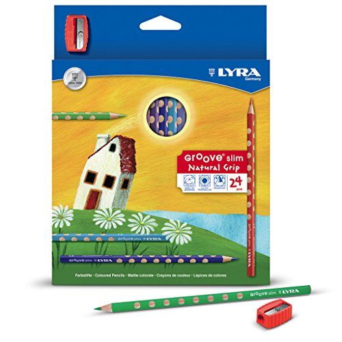 24 Lyra Groove Slim Coloured Pencils Inc Sharpener - Triangular - School Art by a2bsales