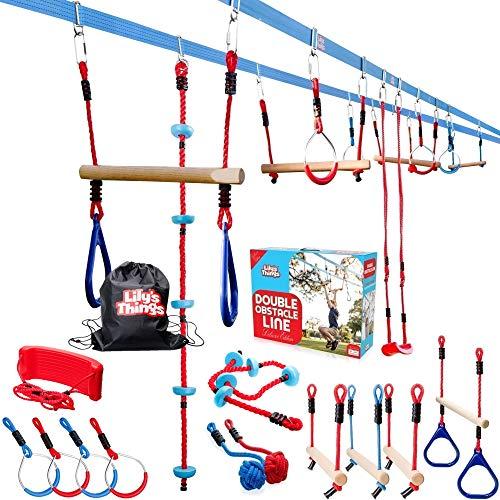 Double Ninja Slackline Obstacle Course for Kids 80 Feet - Monkey Bars Playground Equipment - Ninja Warrior Course with Monkey Bars for Kids - (Deluxe Edition) - Patent Pending Double Line Design