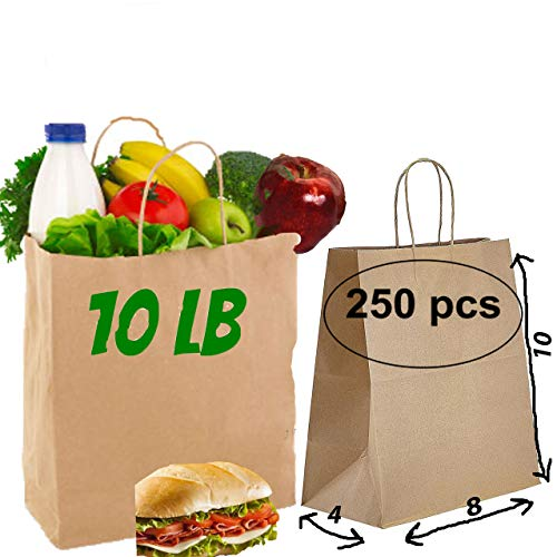 [250 pack] 10 lb brown kraft paper bags 8x4x10 brown paper lunch bags with handles party 10 Pound brown paper Retail bags with handles Kraft shopping bags with handles brown lunch bags bulk