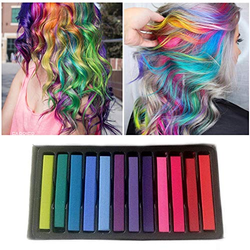 Tiza de Pelo, Cabello Tiza, Tiza para el Cabello, Coloración temporal Cabello, Hair Chalk Set, 12 Colores Temporal Tiza de Pelo No Tóxicas Lavables Color de Tiza Para Niños DIY Fiesta y Cosplay